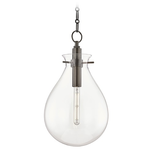 Hudson Valley Lighting Hudson Valley Old Bronze Pendant Light with Clear Glass Shade BKO102-OB