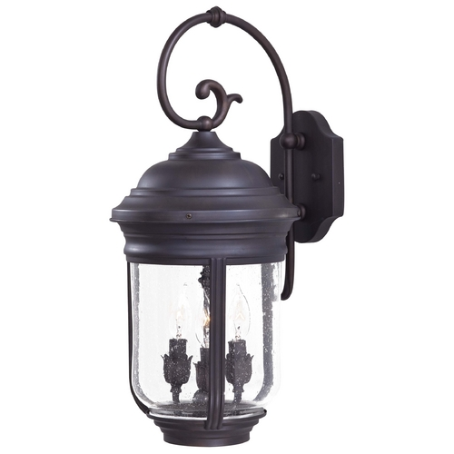 Minka Lavery Outdoor Wall Light with Clear Glass in Roman Bronze Finish 8811-57