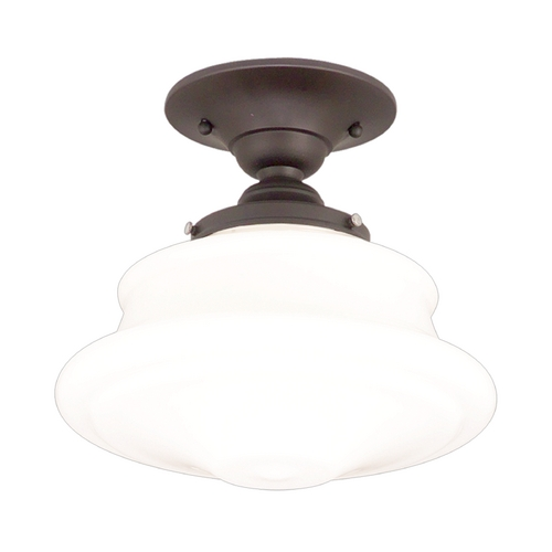 Hudson Valley Lighting Semi-Flushmount Light with White Glass in Old Bronze Finish 3416F-OB