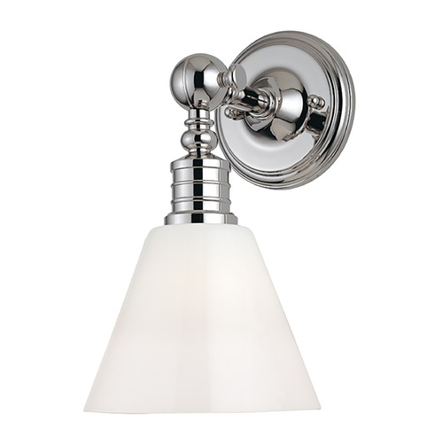 Hudson Valley Lighting Modern Sconce Wall Light with White Glass in Polished Nickel Finish 9601-PN