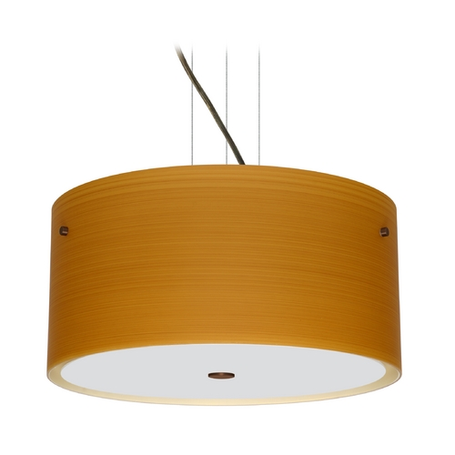 Besa Lighting Modern Pendant Light with Brown Glass in Bronze Finish 1KV-4008OK-BR