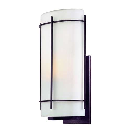 Dolan Designs Lighting Outdoor Wall Light with White Glass in Olde World Iron Finish 9301-34