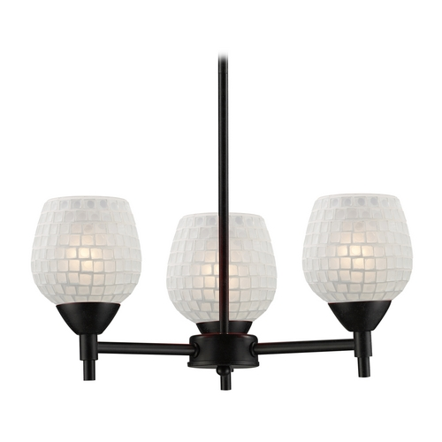 Elk Lighting Mini-Chandelier with Art Glass in Dark Rust Finish 10154/3DR-WHT