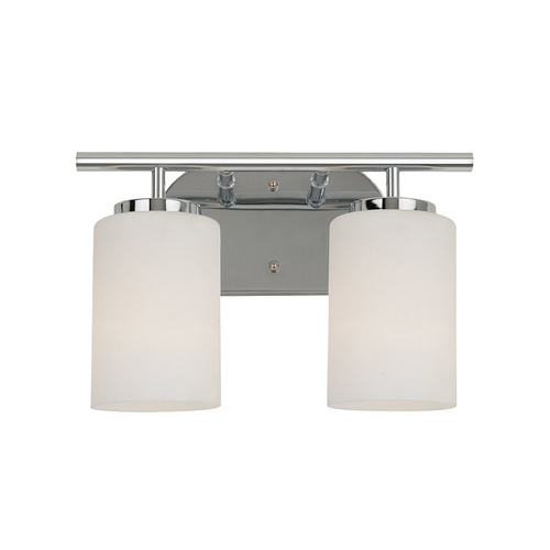 Sea Gull Lighting Modern Bathroom Light with White Glass in Chrome Finish 41161-05