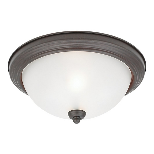 Sea Gull Lighting Flushmount Light with White Glass in Misted Bronze Finish 77063-814