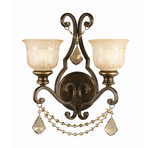 Crystorama Lighting Crystal Sconce Wall Light in Bronze Umber Finish 7502-BU-GT-MWP