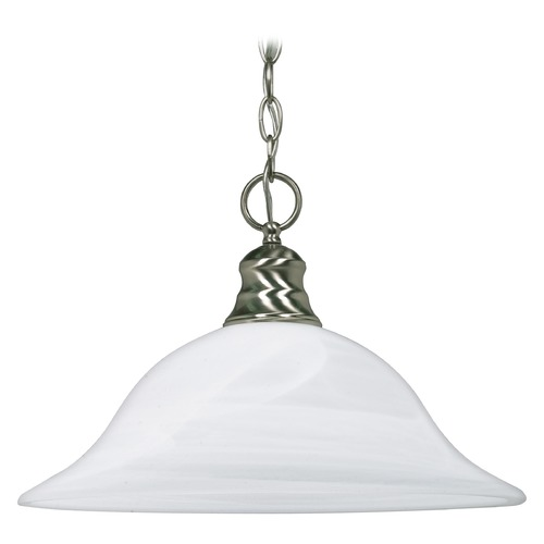 Nuvo Lighting Pendant Light with Alabaster Glass in Brushed Nickel Finish 60/390