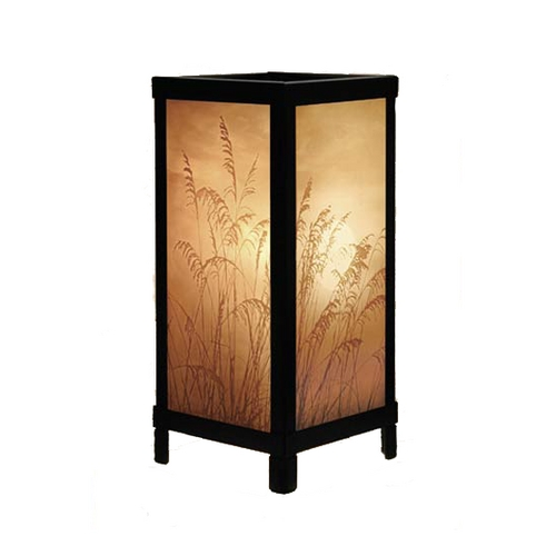 Porcelain Garden Lighting Black Accent Table Lamp with Etched Porcelain Shade LT07
