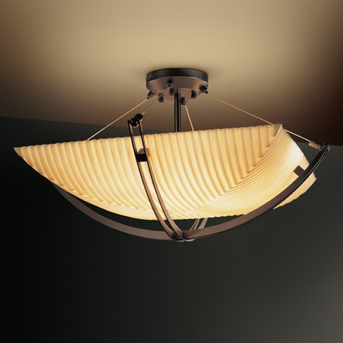 Justice Design Group Justice Design Group Porcelina Collection Semi-Flushmount Light PNA-9714-25-PLET-DBRZ