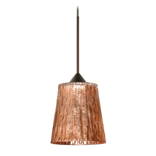 Besa Lighting Besa Lighting Nico Bronze Mini-Pendant Light with Fluted Shade 1XT-5125CF-BR