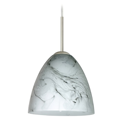 Besa Lighting Besa Lighting Vila Satin Nickel LED Mini-Pendant Light with Bell Shade 1JT-4470MG-LED-SN