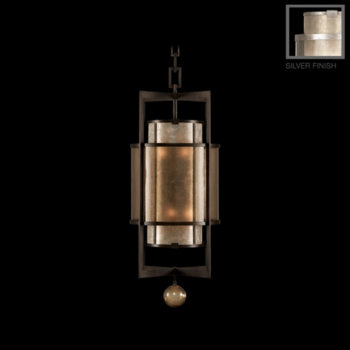 Fine Art Lamps Fine Art Lamps Singapore Moderne Silver Leaf Pendant Light with Cylindrical Shade 591240-2ST
