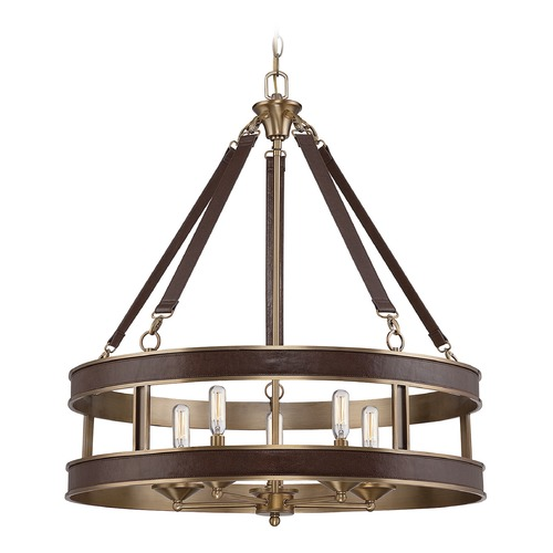 Savoy House Savoy House Lighting Harrington Harness Leather W/ Rubbed Brass Pendant Light 7-611-5-50