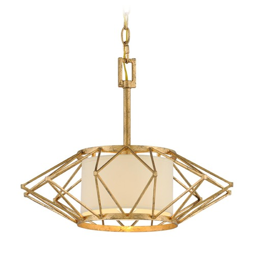 Troy Lighting Troy Lighting Calliope Rustic Gold Leaf Pendant Light with Drum Shade F4863