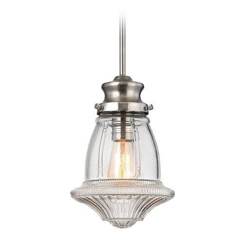 Elk Lighting Elk Lighting Schoolhouse Pendants Satin Nickel Mini-Pendant Light 69143-1