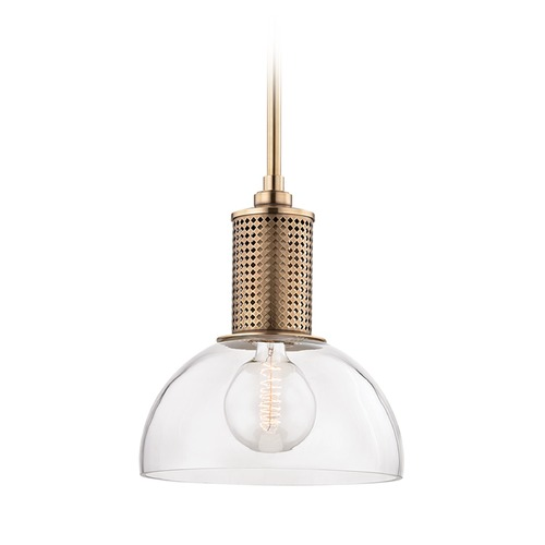Hudson Valley Lighting Hudson Valley Lighting Halcyon Aged Brass Pendant Light with Bowl / Dome Shade 7214-AGB