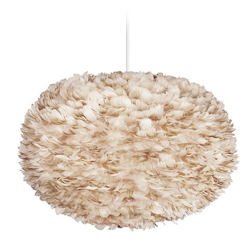 UMAGE UMAGE White Pendant Light with Light Brown Feather Shade 3008_4009