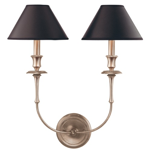 Hudson Valley Lighting Sconce Wall Light with Black Paper Shades in Antique Nickel Finish 1862-AN