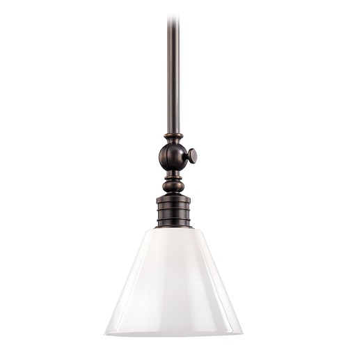 Hudson Valley Lighting Modern Pendant Light with White Glass in Distressed Bronze Finish 9611-DB