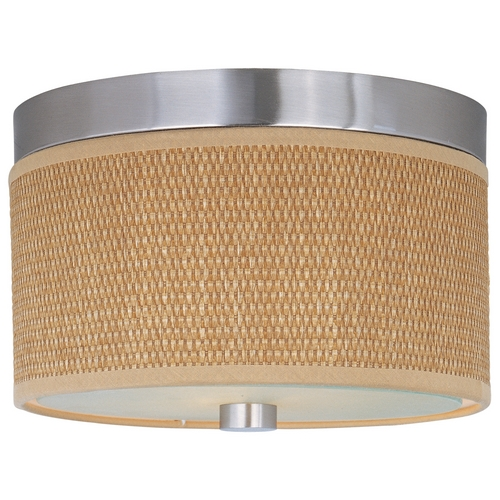 ET2 Lighting Modern Flushmount Light with Brown Shades in Satin Nickel Finish E95000-101SN