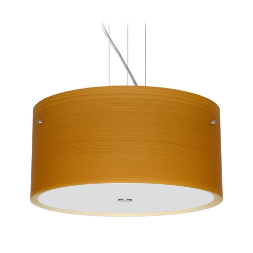 Besa Lighting Modern Pendant Light with Brown Glass in Satin Nickel Finish 1KV-4008OK-SN