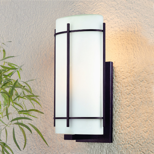 Dolan Designs Lighting Outdoor Wall Light with White Glass in Olde World Iron Finish 9302-34