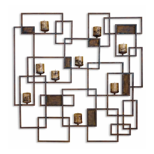 Uttermost Lighting Modern Candle Holder in Rust Brown Finish 20850