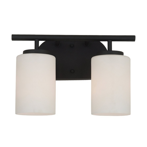 Sea Gull Lighting Modern Bathroom Light with White Glass in Blacksmith Finish 41161-839