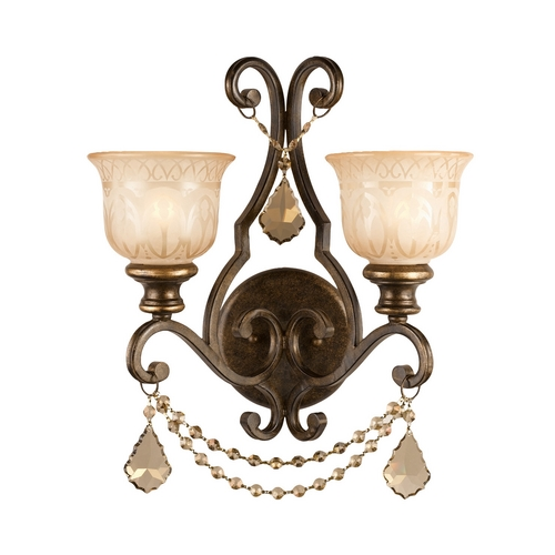 Crystorama Lighting Crystal Sconce Wall Light in Bronze Umber Finish 7502-BU-GTS