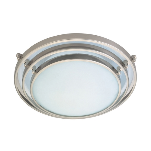 PLC Lighting Modern Flushmount Light with White Glass in Satin Nickel Finish 1612 SN
