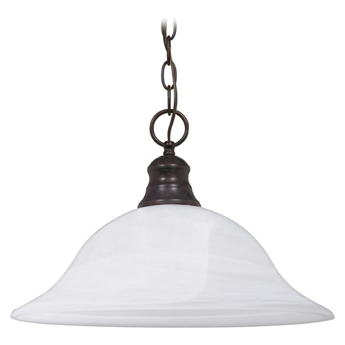 Nuvo Lighting Pendant Light with Alabaster Glass in Old Bronze Finish 60/391