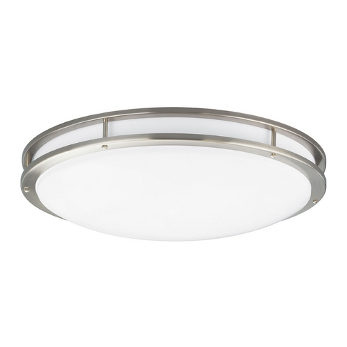 Progress Lighting Modern Flushmount Light with White in Brushed Nickel Finish P7252-09EBWB
