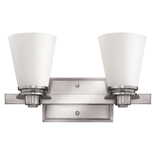 Hinkley Lighting Bathroom Light with White Glass in Brushed Nickel Finish 5552BN