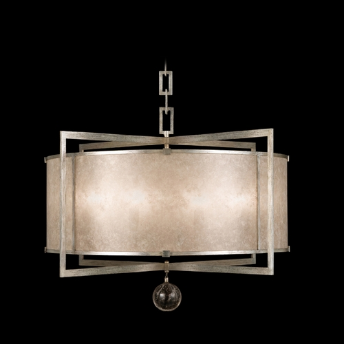 Fine Art Lamps Fine Art Lamps Singapore Moderne Silver Leaf Pendant Light with Drum Shade 591540-2ST