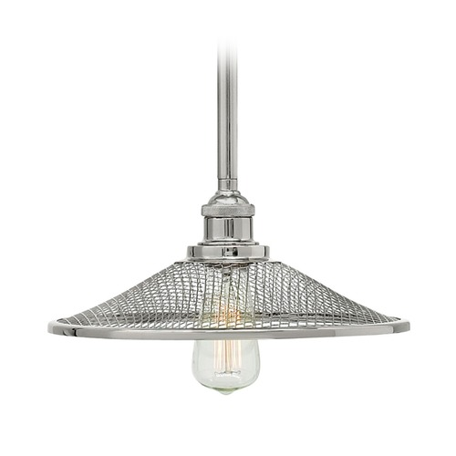 Hinkley Lighting Hinkley Lighting Rigby Polished Nickel Pendant Light with Coolie Shade 4367PN