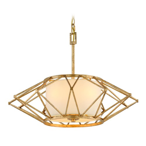 Troy Lighting Troy Lighting Calliope Rustic Gold Leaf Pendant Light with Drum Shade F4864