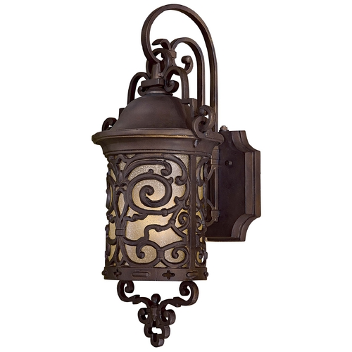 Minka Lavery Outdoor Wall Light with Beige / Cream Glass in Chelesa Bronze Finish 9192-189-PL