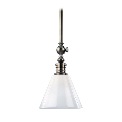 Hudson Valley Lighting Modern Pendant Light with White Glass in Historic Nickel Finish 9611-HN