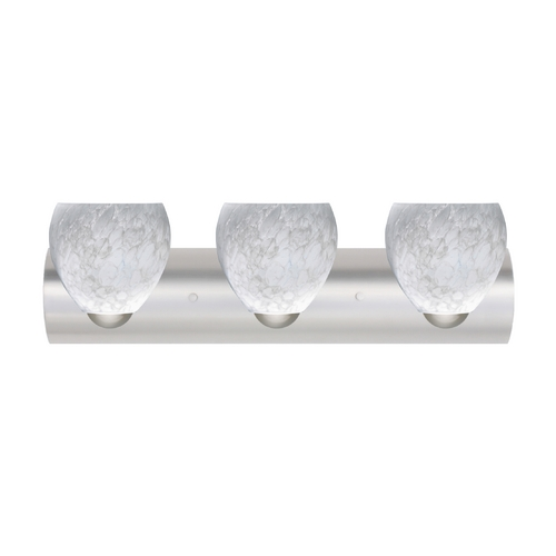 Besa Lighting Bathroom Light with White Glass in Satin Nickel Finish 3WZ-412219-SN