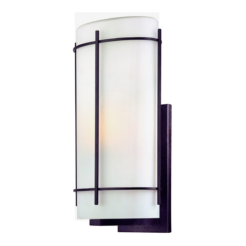 Dolan Designs Lighting Outdoor Wall Light with White Glass in Olde World Iron Finish 9303-34