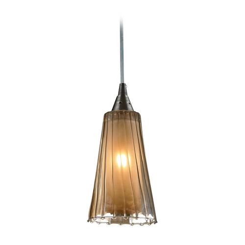 Elk Lighting Modern Mini-Pendant Light with Amber Glass 31148/1