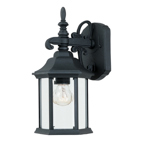 Designers Fountain Lighting Outdoor Wall Light with Clear Glass in Black Finish 2961-BK