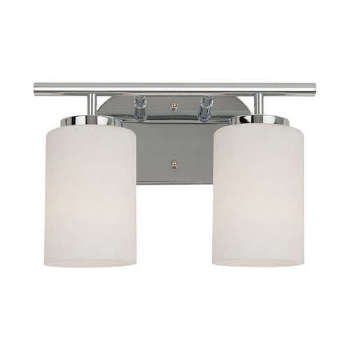 Sea Gull Lighting Modern Bathroom Light with White Glass in Chrome Finish 41161BLE-05