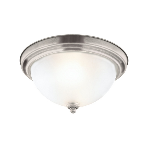 Sea Gull Lighting Flushmount Light with White Glass in Antique Brushed Nickel Finish 77063-965