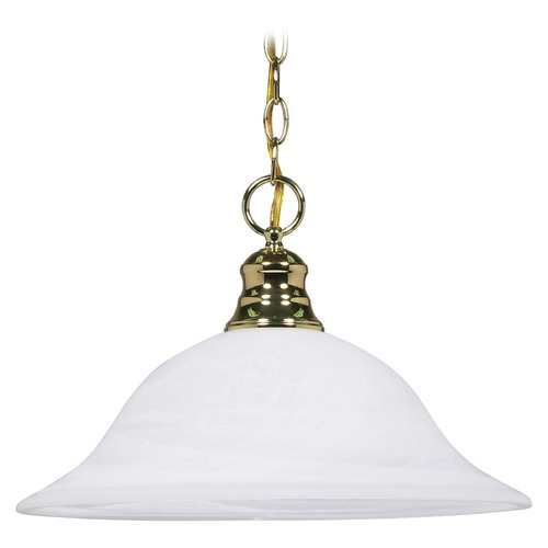 Nuvo Lighting Pendant Light with Alabaster Glass in Polished Brass Finish 60/392