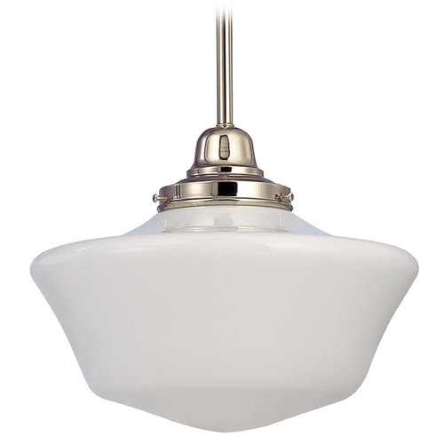 Design Classics Lighting 12-Inch Schoolhouse Pendant Light in Polished Nickel Finish FB4-15 / GA12