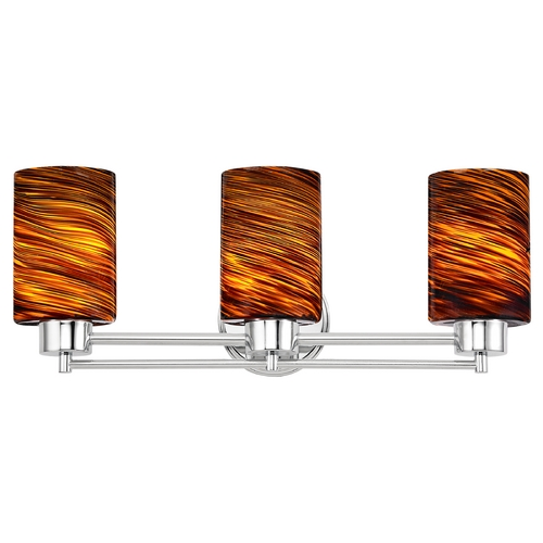 Design Classics Lighting Modern Bathroom Light with Brown Art Glass in Chrome Finish 703-26 GL1023C