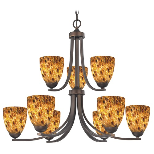 Design Classics Lighting Design Classics Dalton Fuse Neuvelle Bronze Chandelier 586-220 GL1005MB