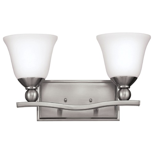 Hinkley Bathroom Light with White Glass in Brushed Nickel Finish 5892BN