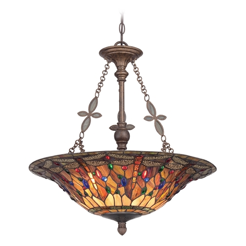 Quoizel Lighting Pendant Light with Multi-Color Glass in Malaga Finish TFJD2822ML